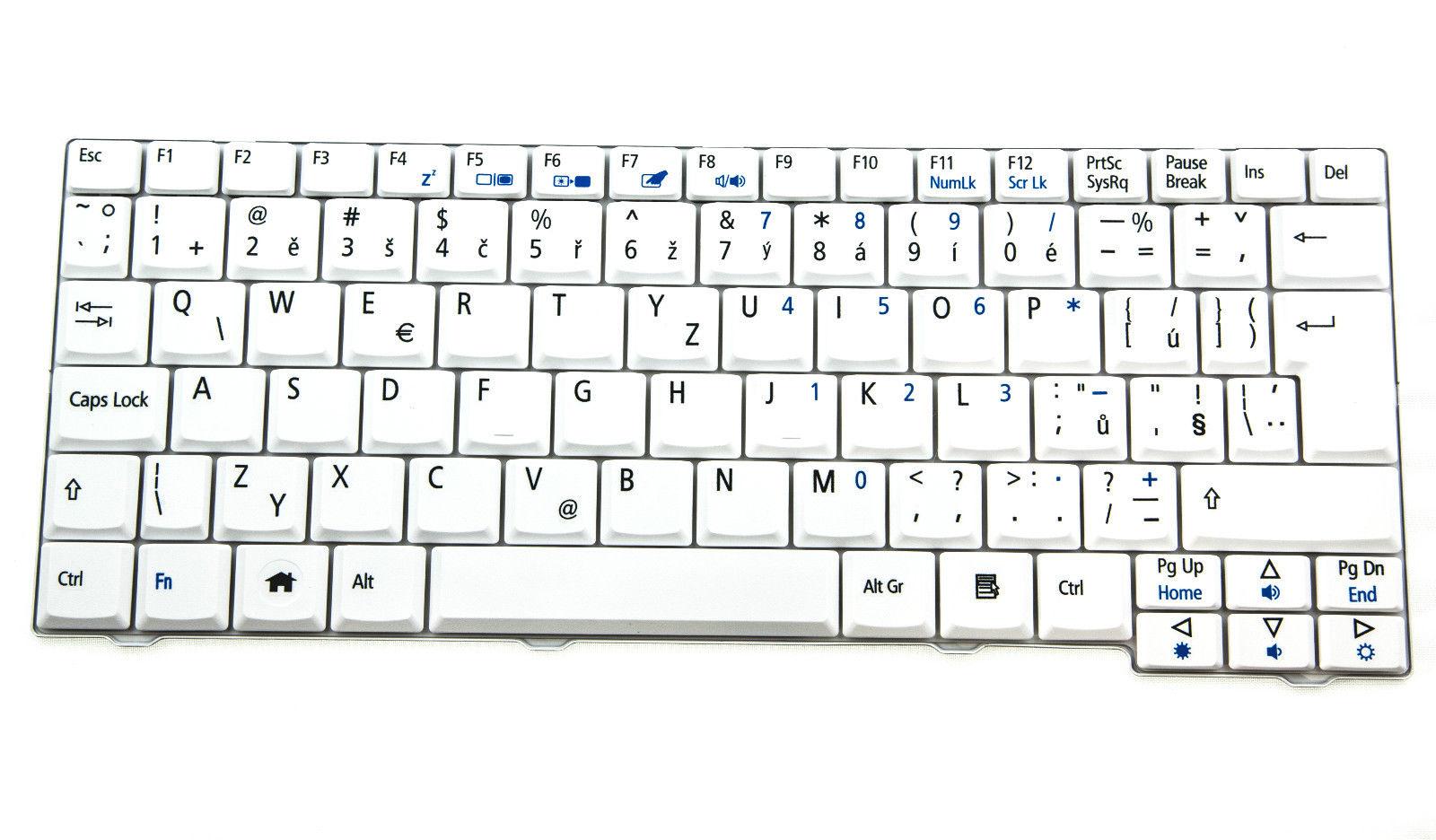 CZ klávesnice pro notebooky Acer Aspire One A110 A150 D150 D250 531h 571h - bílá